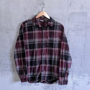 Vans purple black plaid long sleeve button up